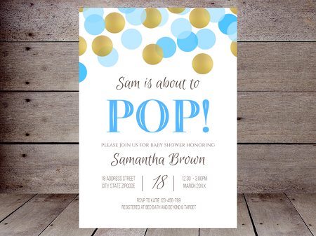 editable blue and gold confetti ready to pop invitation