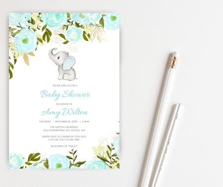 editable little peanut boy elephant invitation