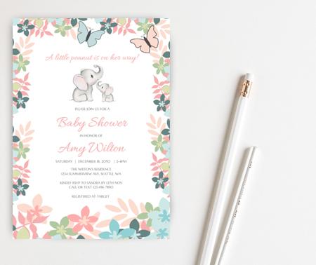 editable pink elephant baby shower invitation