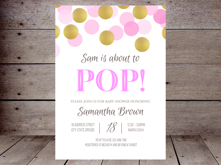 editable pink and gold confetti ready to pop invitation