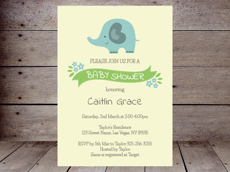 editable sweet elephant boy invitation