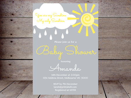 editable you are my sunshine baby shower invitation