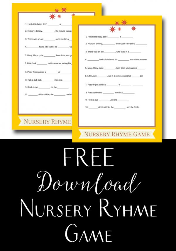 free baby shower nursery rhyme game template