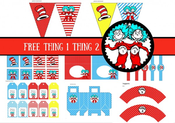 free dr seuss thing 1 thing 2 twins party printable baby shower birthday