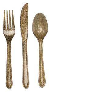 gold glitter cutlery