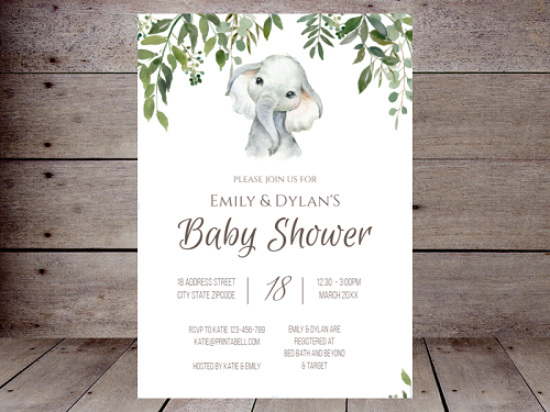 greenery elephant baby shower invitation editable
