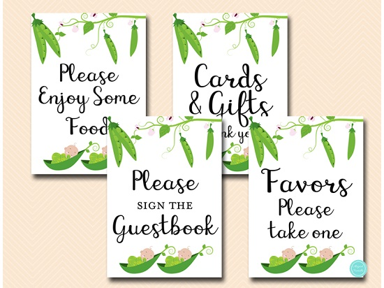 peas-in-a-pod-twins-baby-shower-table-sign-decorations
