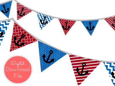 pennant Blue Red Watercolor Nautical Baby Shower Banner, Ahoy Pennant, Garland, Printable Banner, Birthday Party, Bridal Shower, Wedding banner