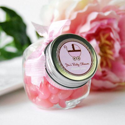 personalized-baby-shower-candy-jar-baby carriage themed baby shower