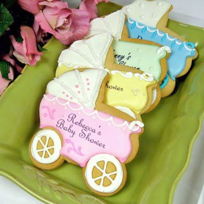 personalized-baby-shower-cookie-collection-baby carriage baby shower favors