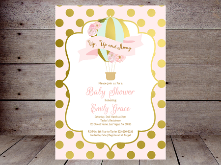 pink and gold editable hot air balloon invitation