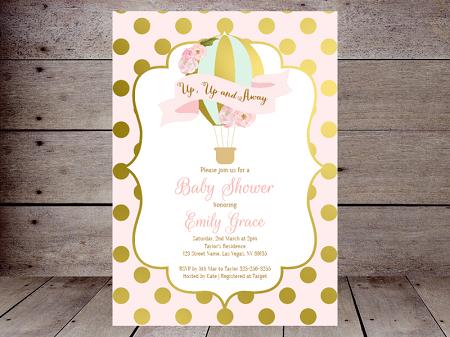 pink and gold editable hot air balloon invitation