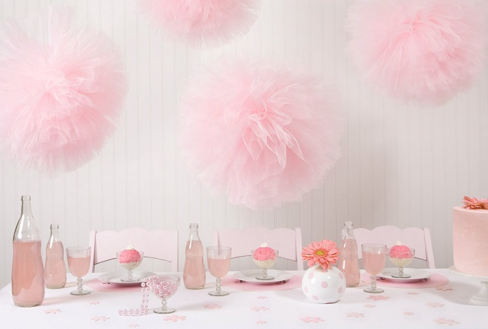 pink tulle pom poms for tutu themed baby shower