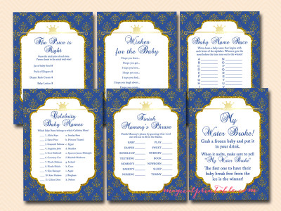 prince baby shower game printables, royal prince baby shower games, prince themed, tlc109