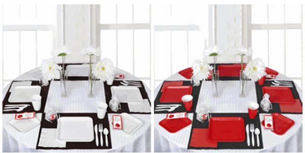 """Ready to Pop"" Baby Shower table setting ideas in white and red"