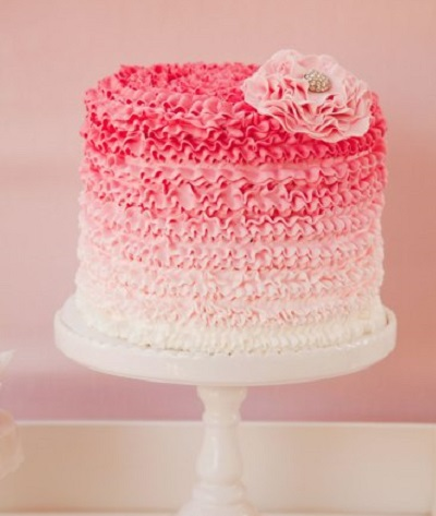 ruffle baby shower cake in pink shade