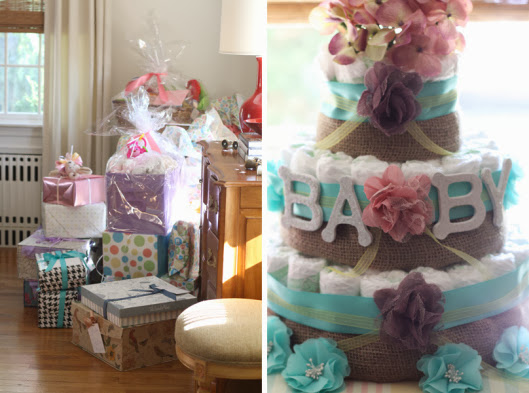 rustic burlap and teal diaper cake