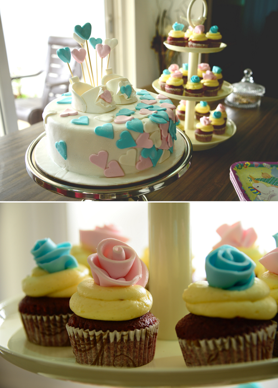 simple pink and blue gender reveal cake idea