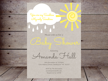 sunshine editable invitation