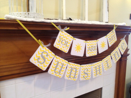sunshine sign garland Baby shower