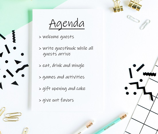 timeline agenda of the day of the baby shower