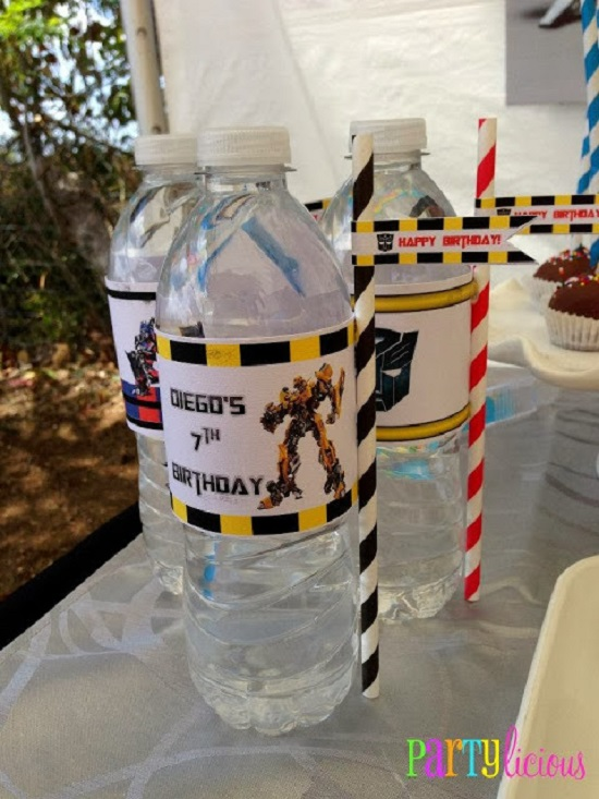 transformer water bottle labels