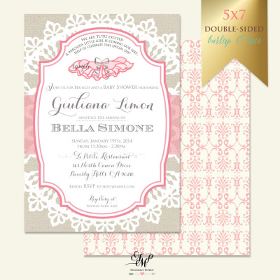 tutu baby shower invitation