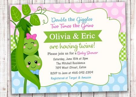 two peas in a pod girl boy invitation