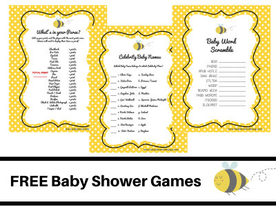 free-what-will-it-bee-theme-baby-shower-FREE-PRINTABLE-BABY-SHOWER-GAMES-baby-word-scramble-baby-celebrity-whats-in-your-purse