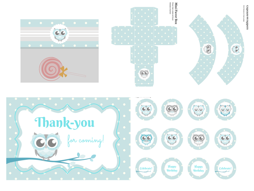 owl themed baby shower printable