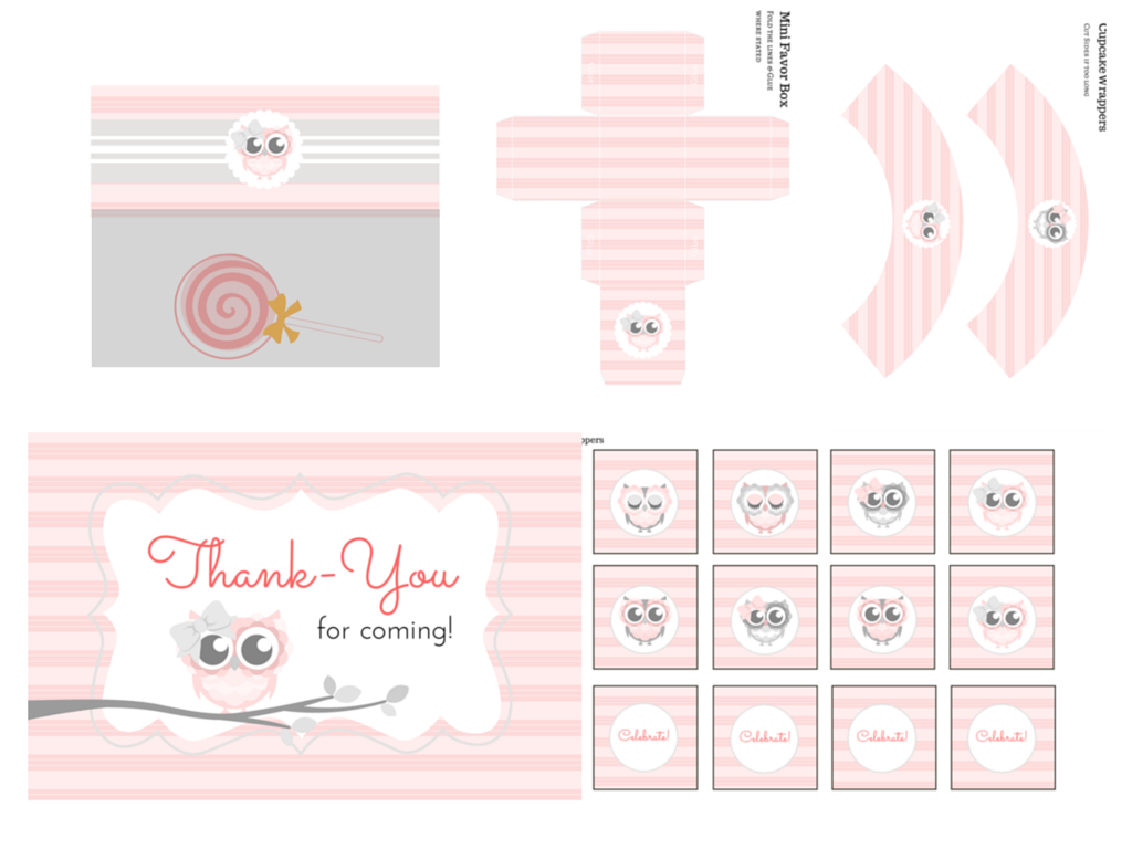 pink owl baby shower printable