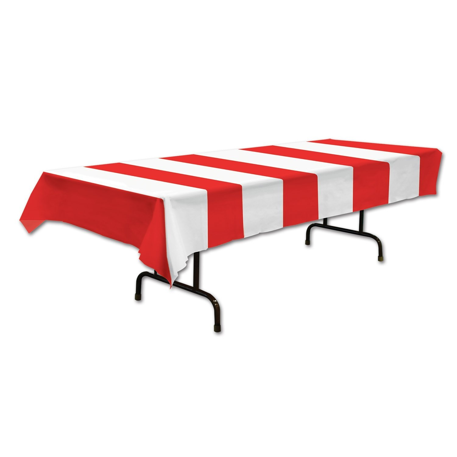 red and white striped table cover