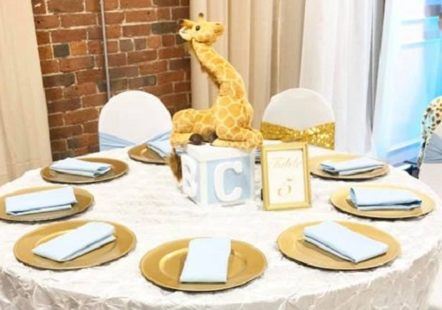 ABC block and soft toy centerpiece