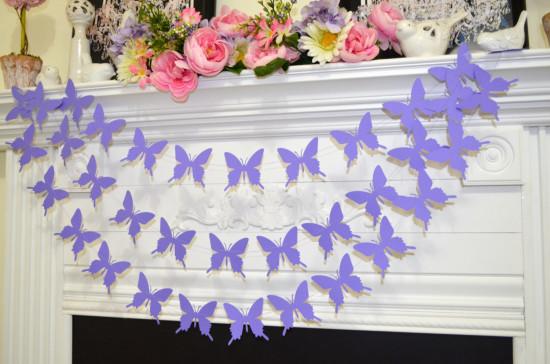 Butterfly Garland, lavender purple butterflies baby shower decoration