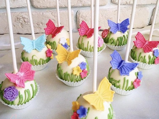 Cake Pops Flowers and Butterflies Decorated Cake Pops