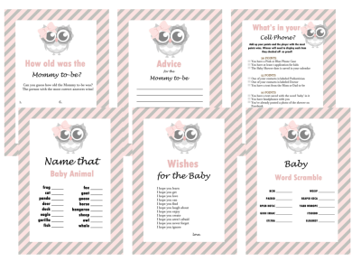 Cute Pink Owl Baby Shower Game Set, Baby Shower Activities, Pink Hoot Baby shower, Game Prize, Unique Baby Shower, olg1