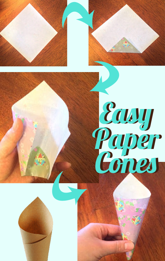 DIY How to Make Paper Treat Cones