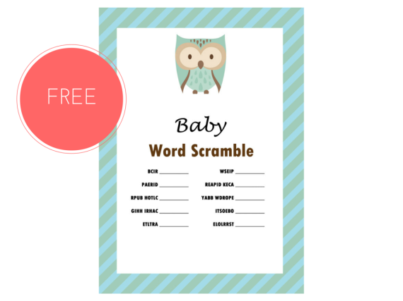 FREE Owl Theme Baby Word Scramble