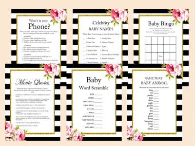 Floral Black and White Baby Shower Games