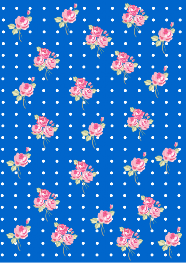 Floral  Shabby chic pattern paper blue 0066cc