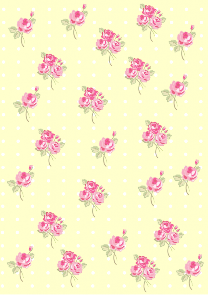 Floral  Shabby chic pattern paper soft yellow ffffcc
