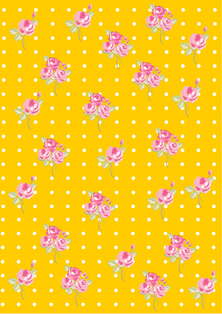 Floral  Shabby chic pattern paper yellow