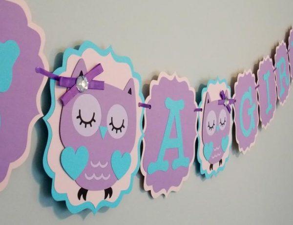 Girl Owl Baby Shower Banner