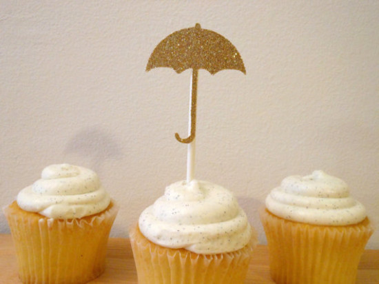 Glittered umbrella rain baby shower cupcake toppers