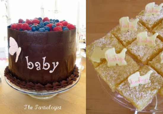Lemon bars with little baby carriage made by fondant and grand cake
