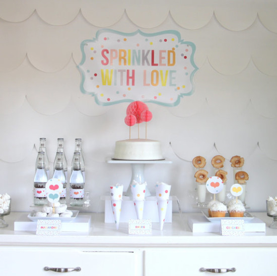 PRINTABLE 'sprinkled with love' party decor, labels and signs