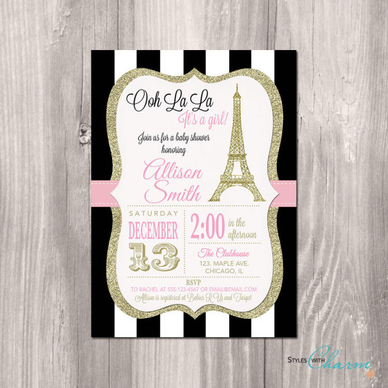 Paris Baby Shower Invitation, Eiffel Tower Baby Shower Invitation, Paris Shower Invitation