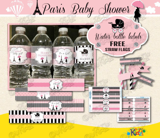 Paris Baby Shower Water Bottle Labels with Free Straw Flags