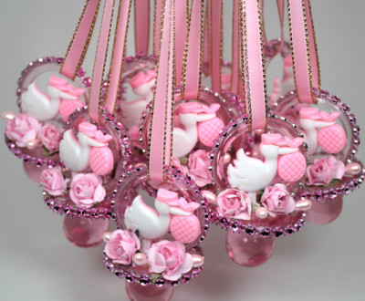 Pink Baby Shower Pacifiers Necklace
