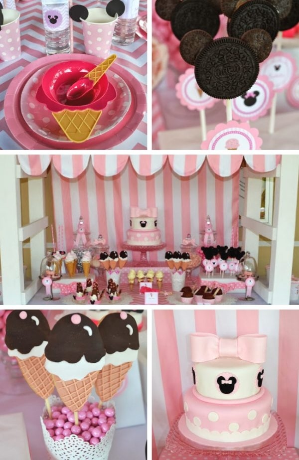 Pink Minnie Mouse Ice Cream Shop Birthday Party